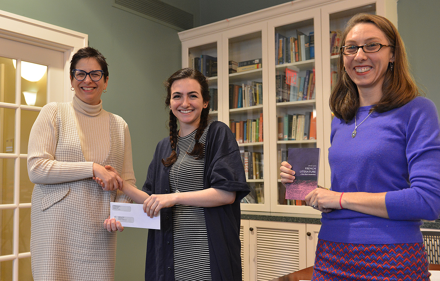 "Sophia Dora Tulchin '20 took third place with her essay, ""Subtleties of Subversion,"" French in Translation 123 course, Love Sex, and Marriage in Renaissance Europe. The class was taught by Michael Meere, assistant professor of French."