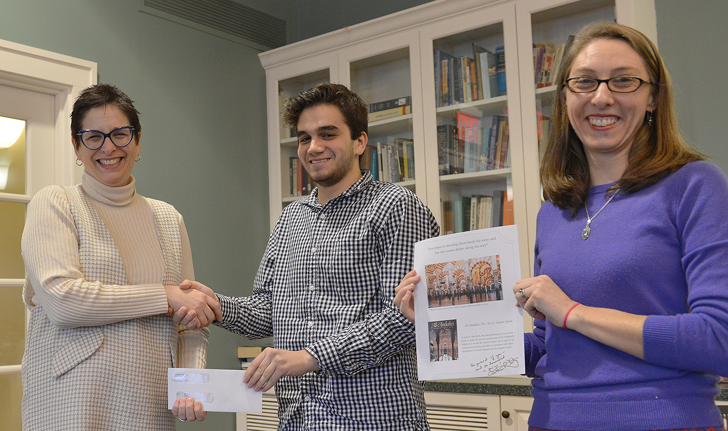 "Daniel Atik '20 took second place in a tie with his essay ""Converted Bells: An Exploration of Religious Power Dynamics,"" written in his College of Letters 120 course, Muslims, Jews, and Christians, Getting Along in the Medieval World. The class was taught by Melissa Katz, visiting assistant professor of romance languages and literatures."