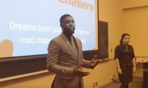AJ Wilson '18 speaks about his project, Dream Catchers, which received a seed