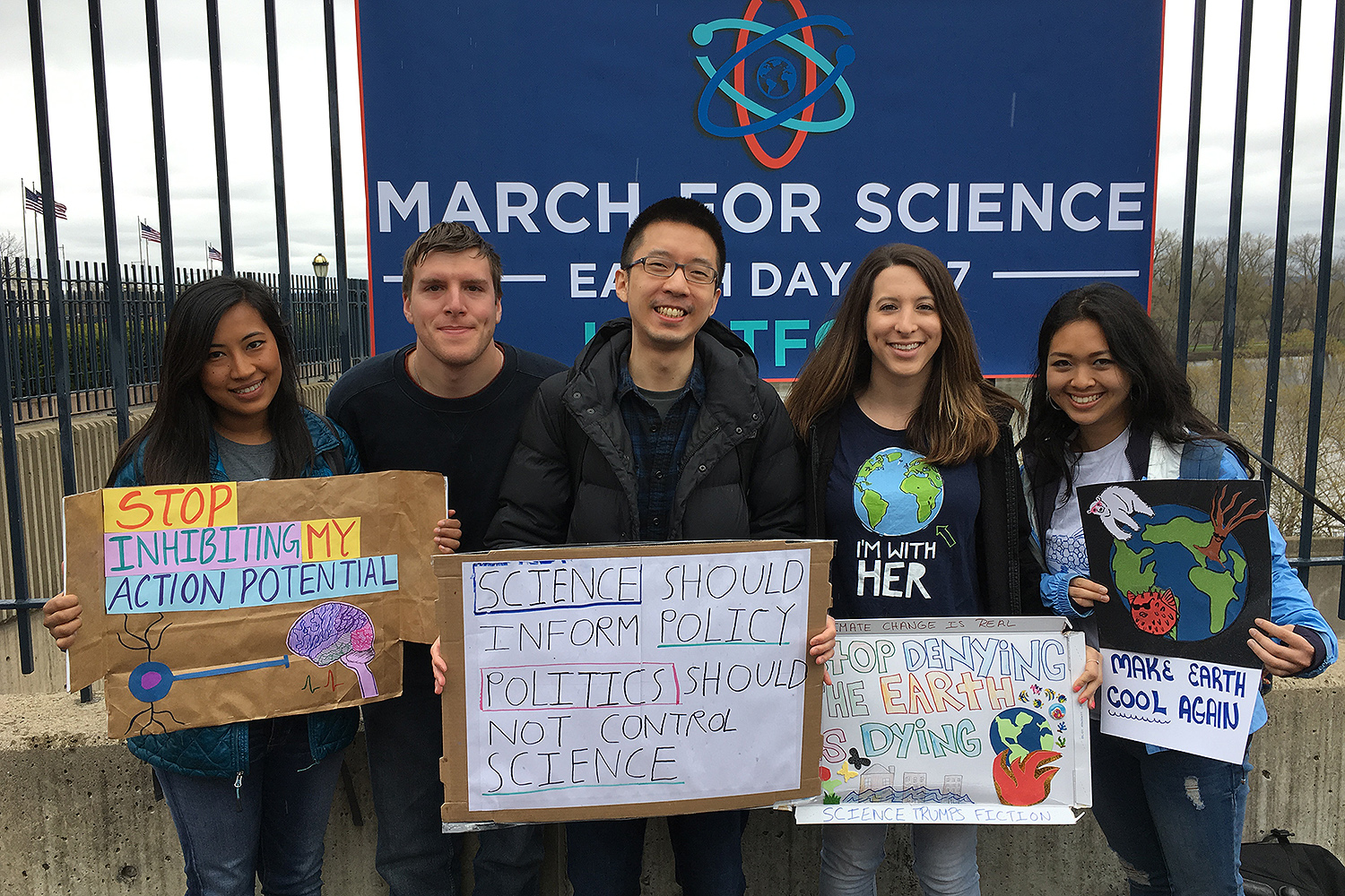 Biology graduate students attended the March for Science.