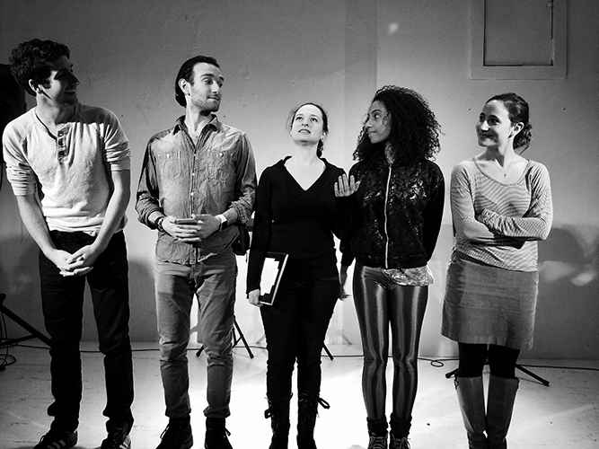 A very Wesleyan Wolf 359: The core cast from left to right: Scotty Shoemaker '13, Zach Valenti '12, Emma Sherr-Ziarko '11, Cecilia Lynn-Jacobs '11, and Michaela Swee '12