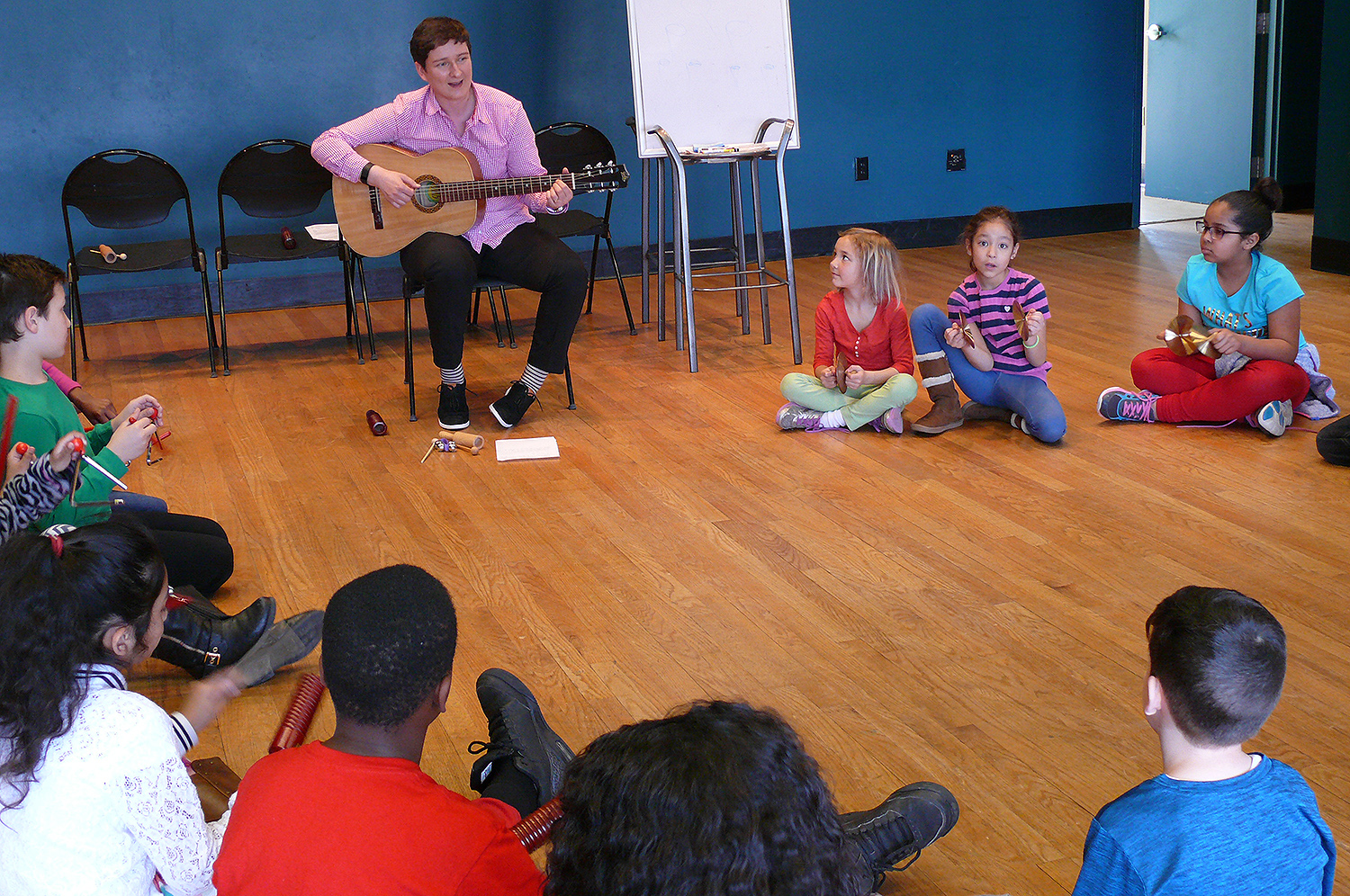 In line with Green Street's mission to offer kids a safe space to build self-esteem, problem solving skills, and act upon their blossoming curiosities by providing a diverse group of role models to work with them, Potemkina's program allowed the children to tap into their creative banks and explore the power of music.