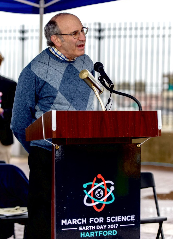 Frederick Cohan spoke at the March for Science in Hartford.