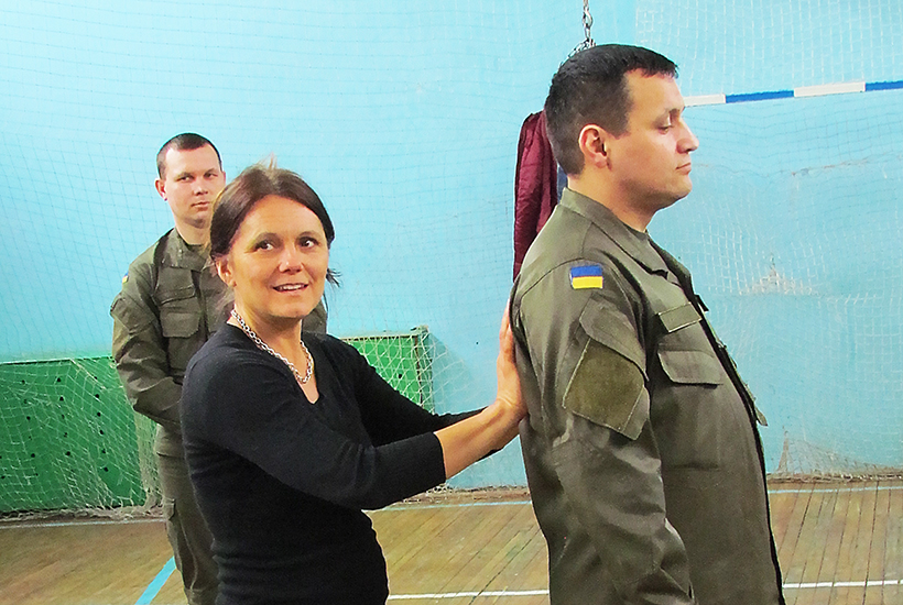 Professor of Dance and Environmental Studies Katja Kolcio leading a somatic workshop with Ukrainian National Guardsmen. What I've learned is most radical about being invited by the National Guard – The have instituted counseling and mind-body programming in an effort to mitigate the dehumanizing effects of war. There is a great concern about the long term effects that this invasion political conflict with Russia will have in Ukraine on the present and future generations.