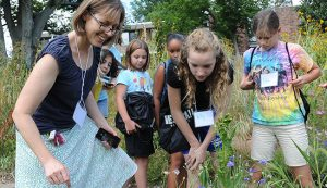 Ruth Johnson, assistant professor of biology, volunteered to teach a Girls in Science Camp, hosted by Wesleyan's Green Street Teaching and Learning Center. Johnson led the campers on a bug hunt through Wesleyan's West College Courtyard garden.