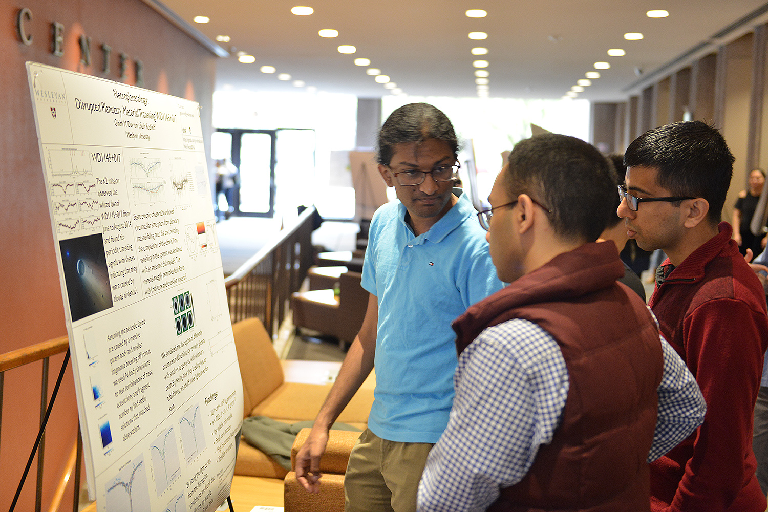 "Girish Duvvuri '17 presented his research titled ""Necroplanetology: Disrupted Planetary Material Transiting WDII45+017."" His advisor is Seth Redfield, associate professor of astronomy."