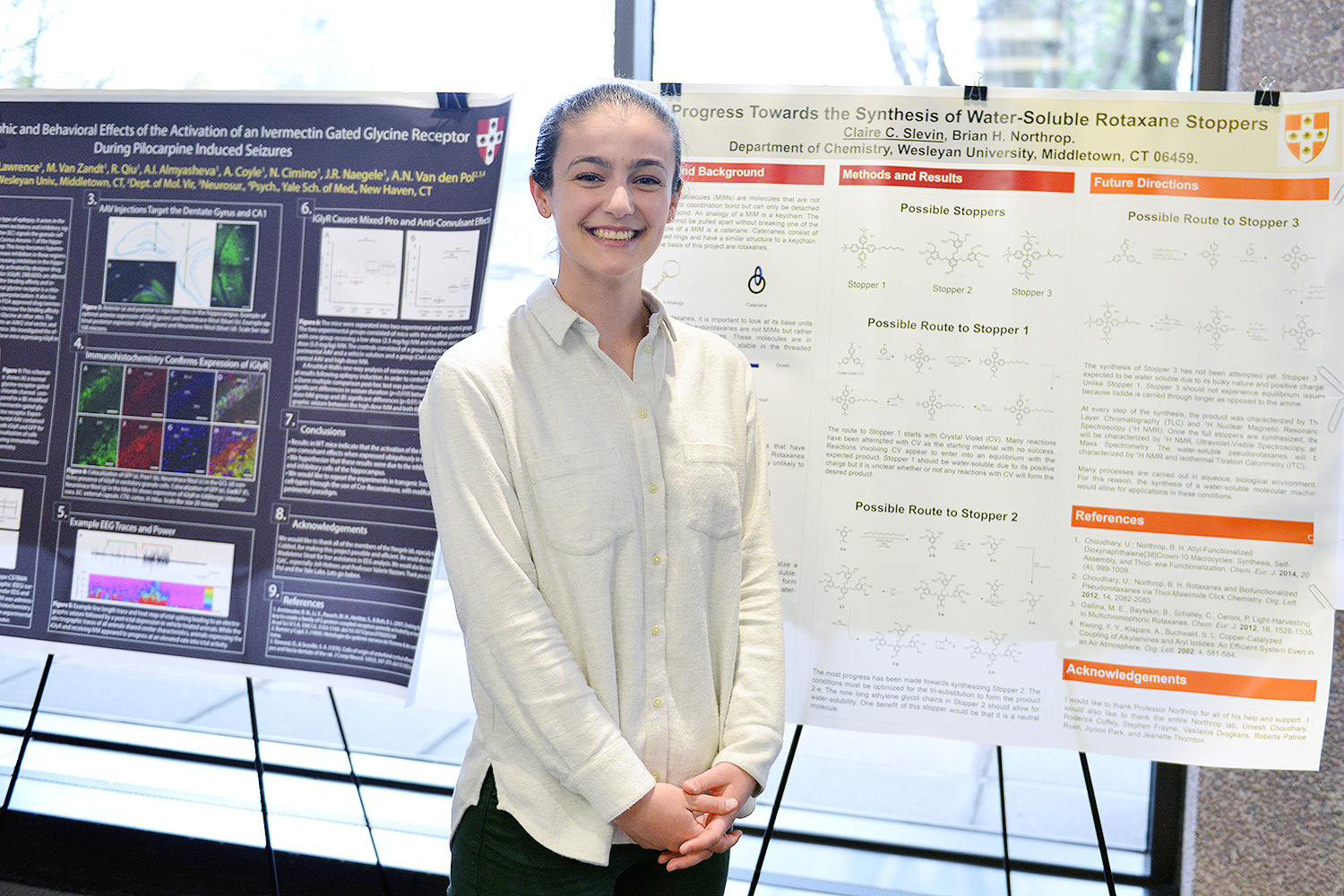 "Claire Slevin '17 presented on ""Progress Towards the Synthesis of Water-Soluble Rotaxane Stoppers."" Her advisor is Brian Northrop, associate professor of chemistry."