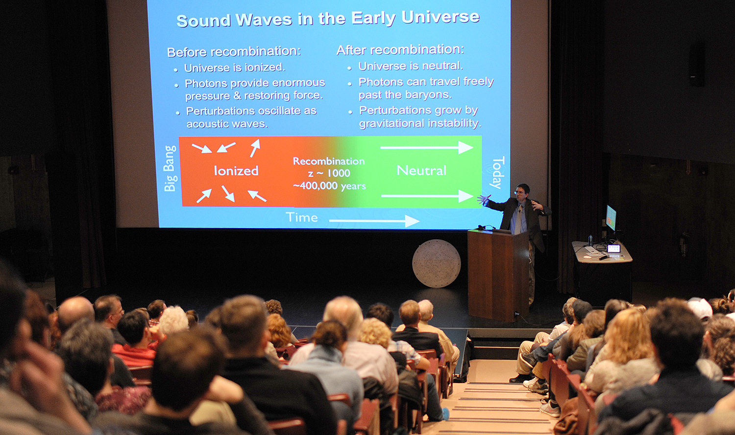 "On April 3, Daniel Eisenstein, a observational cosmologist and a professor at Harvard University, spoke on ""Mapping the Universe with the Sloan Digital Sky Survey"" during the annual Sturm Memorial Lecture. In memory of Kenneth E. Sturm from the Class of 1940, this annual event is open the entire Wesleyan community and features a presentation from an astronomer that is outstanding in his/her field and is able to communicate the excitement of science to a lay audience."