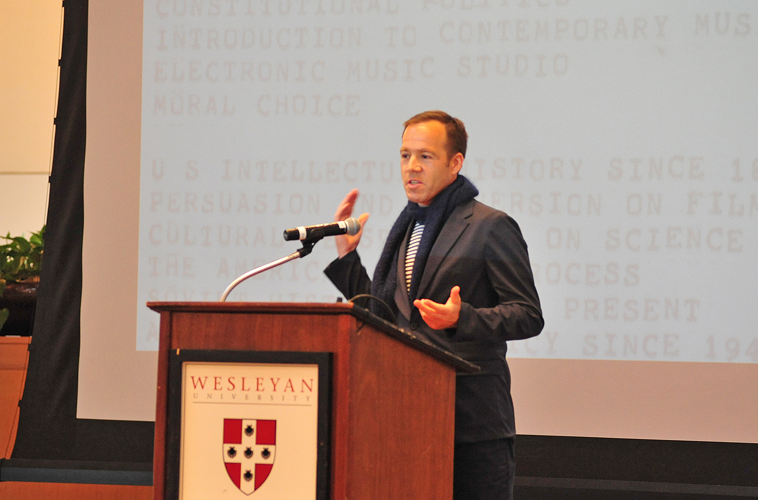 "Luke Wood '91, president of Beats by Dr. Dre, delivered the WesFest Alumni Keynote Speech on April 13 titled ""Between Thought and Expression: My Wesleyan Education."" Beats by Dr. Dre is a premium brand of headphones and speakers that was acquired by Apple in 2014. A producer, guitarist, and music industry veteran with more than 20 years of experience, Wood has been involved with Beats since its early days, officially joining the company in 2011. Wood began his career with Geffen Records in 1991 as a director of publicity, representing such bands as Nirvana and Sonic Youth. Luke Wood '91, president of Beats by Dr. Dre, delivered the WesFest Alumni Keynote Speech on April 13 titled ""Between Thought and Expression: My Wesleyan Education."" Beats by Dr. Dre is a premium brand of headphones and speakers that was acquired by Apple in 2014. A producer, guitarist, and music industry veteran with more than 20 years of experience, Wood has been involved with Beats since its early days, officially joining the company in 2011. Wood began his career with Geffen Records in 1991 as a director of publicity, representing such bands as Nirvana and Sonic Youth."