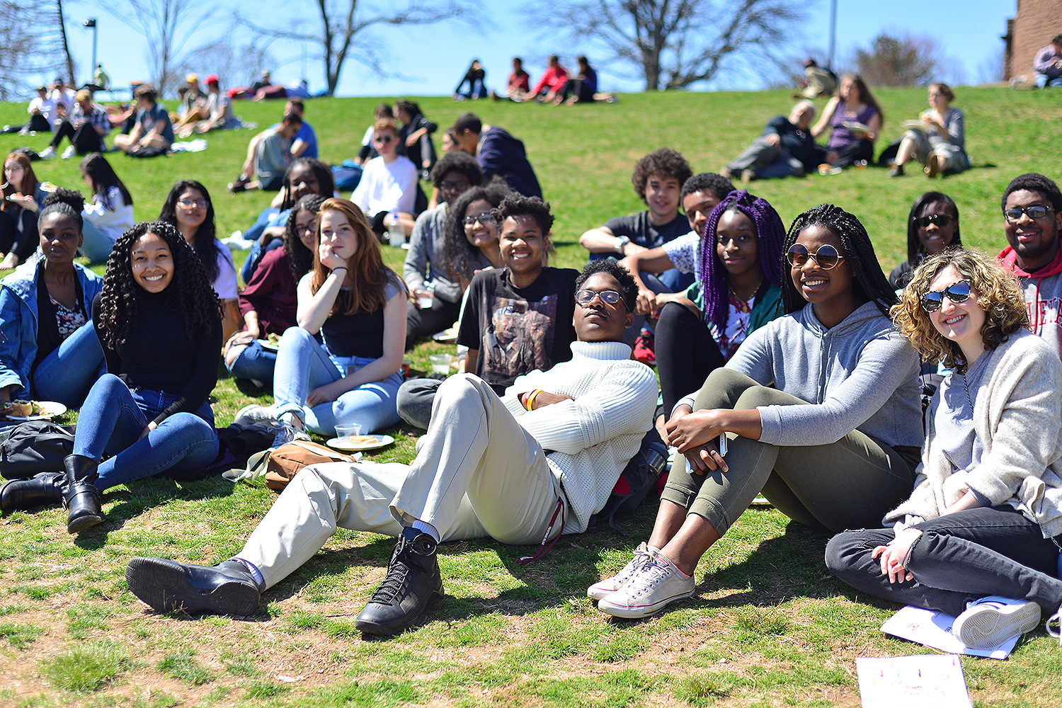 Admitted Class of 2021 students gather on Foss Hill April 14 during the WesFest picnic.