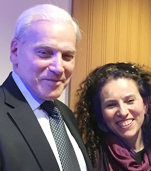 Emil Frankel '61 congratulates  Sarah Wildman '88, who presented the 36th annual Samuel and Dorothy Frankel Memorial Lecture, which honors his parents.