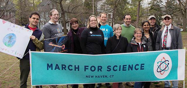 Professor Laura Grabel, pictured sixth from left, attended the March for Science in New Haven, Conn.