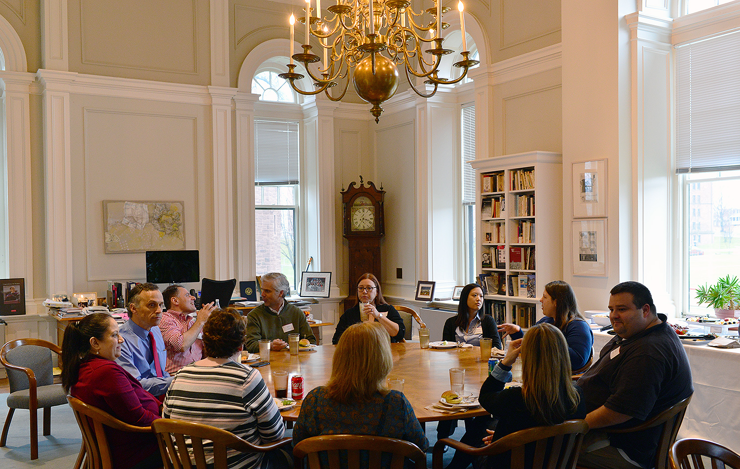 On April 6, Wesleyan President Michael Roth met with recent Cardinal Achievement Award recipients at a luncheon. President Roth hosted the event at his office in South College.