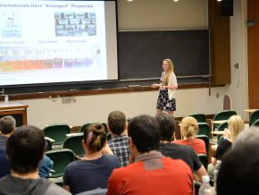 "Chemistry graduate student Melissa King presented a talk on ""Synthesis of Shaped Nanoparticles with Bimetallic Surfaces via Iodide Facilitated Reduction of Palladium"" April 19 in Exley Science Center. Her talk concluded the 2016-17 Graduate Speaker Series."