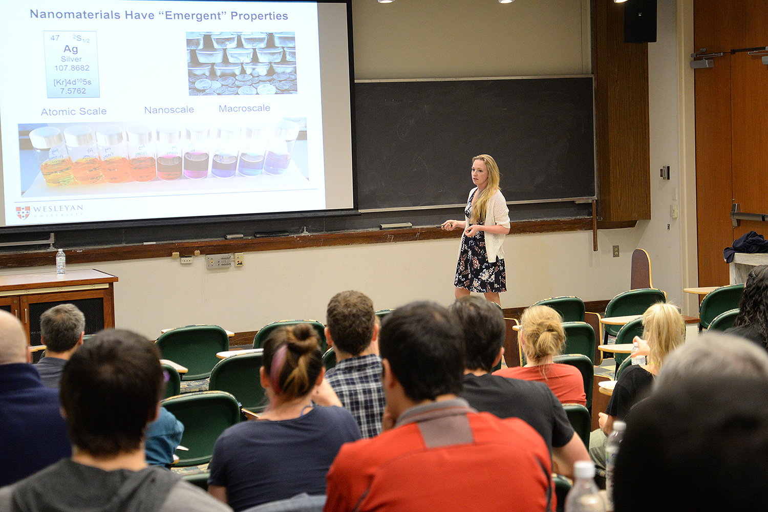 "Chemistry graduate student Melissa King presented a talk on ""Synthesis of Shaped Nanoparticles with Bimetallic Surfaces Iodide Facilitated Reduction of Palladium"" April 19 in Exley Science Center. Her talk concluded the 2016-17 Graduate Speaker Series."