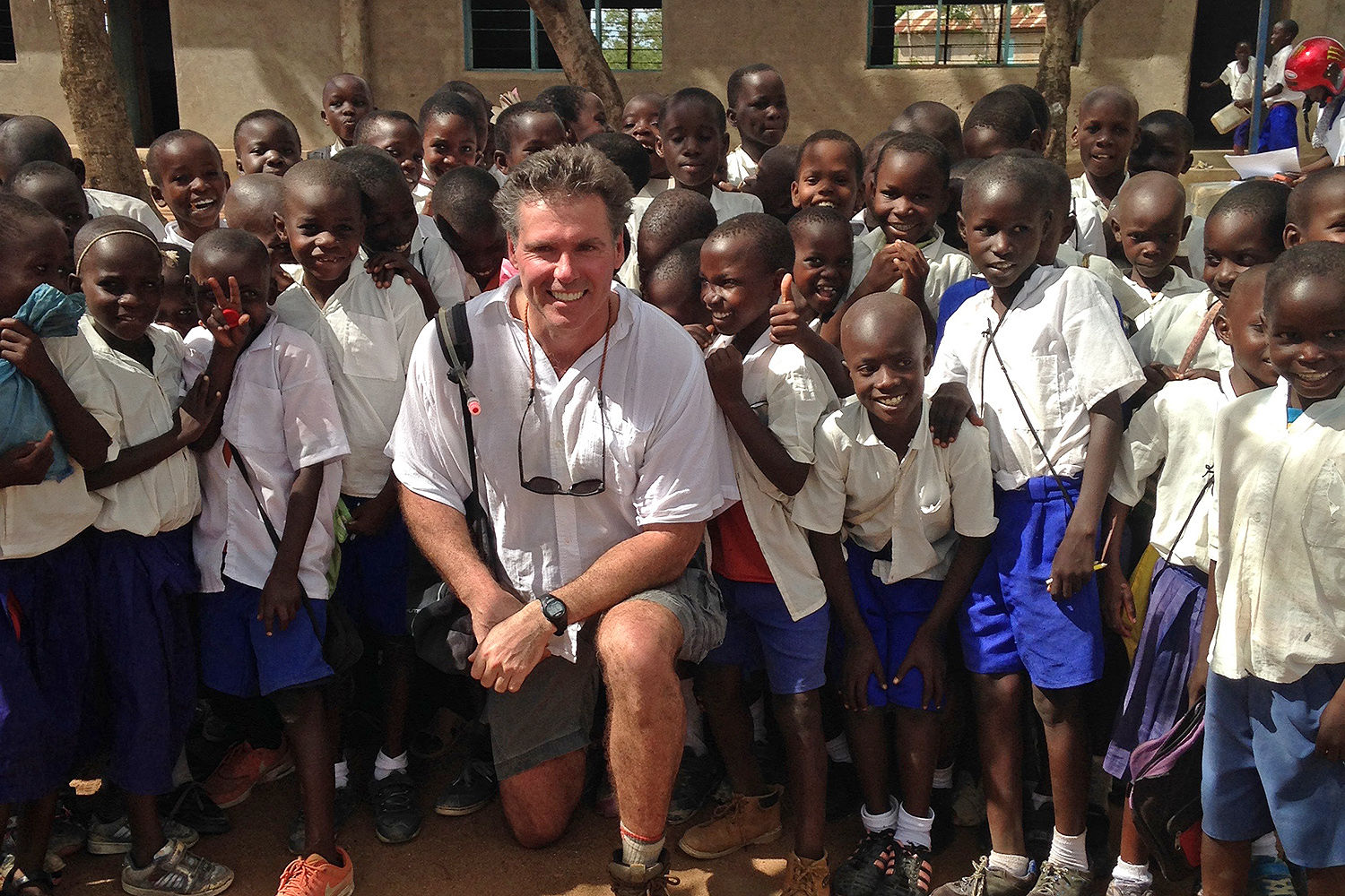 Visiting Max Perel-Slater '11 in Tanzania, Prof. McAlear joined members of the Maji Safi group on an educational trip to a local school.