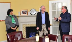 During a visit to the COE on April 7, Essel and Menakka Bailey offered a sampling of KnightsBridge wine, made from their grape farm in California. Professor Barry Chernoff led a toast to the Baileys with Wesleyan faculty, staff and students in attendance.