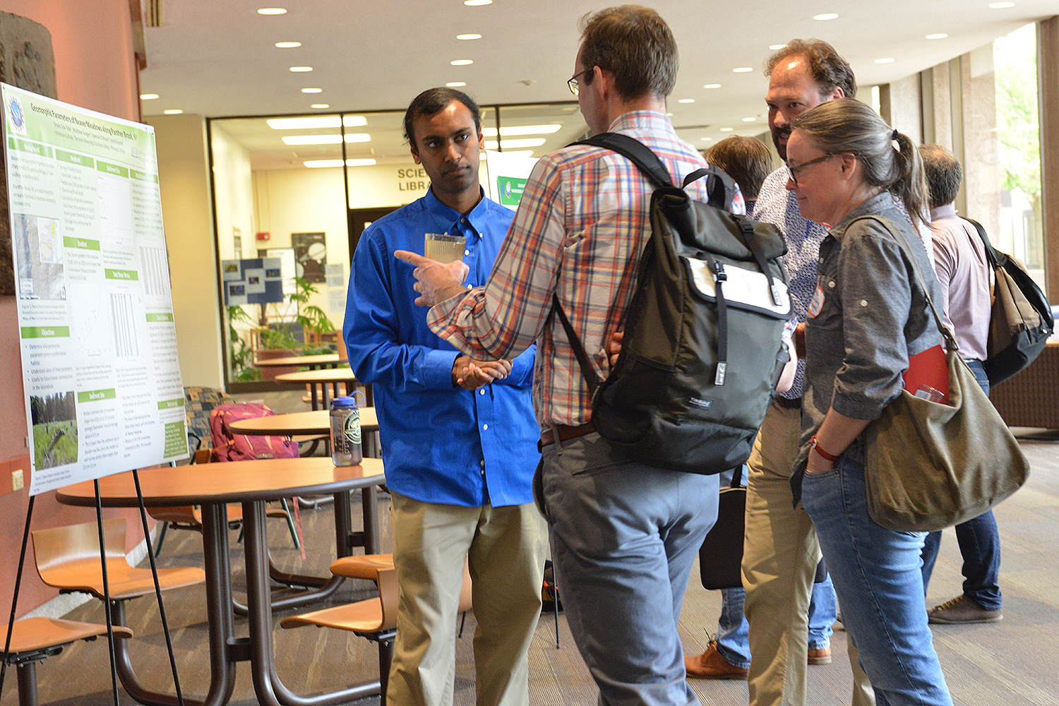 During the 30th Keck Geology Consortium Symposium on April 29, Wesleyan hosted a poster session at Exley Science Center. Several students from the Department of Earth and Environmental Sciences shared their research, as did students visiting from other universities who are part of the Keck Geology Consortium.