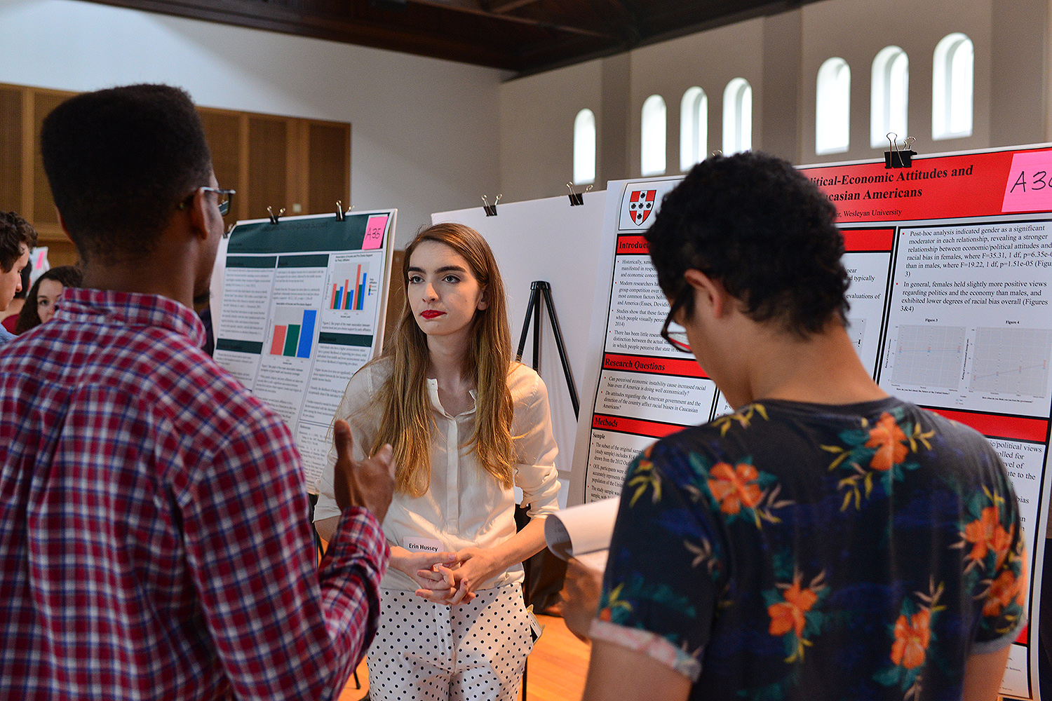 "Erin Hussey '20 shared her study titled ""The Association Between Political-Economic Attitudes and Racial Bias Among Caucasian Americans."""