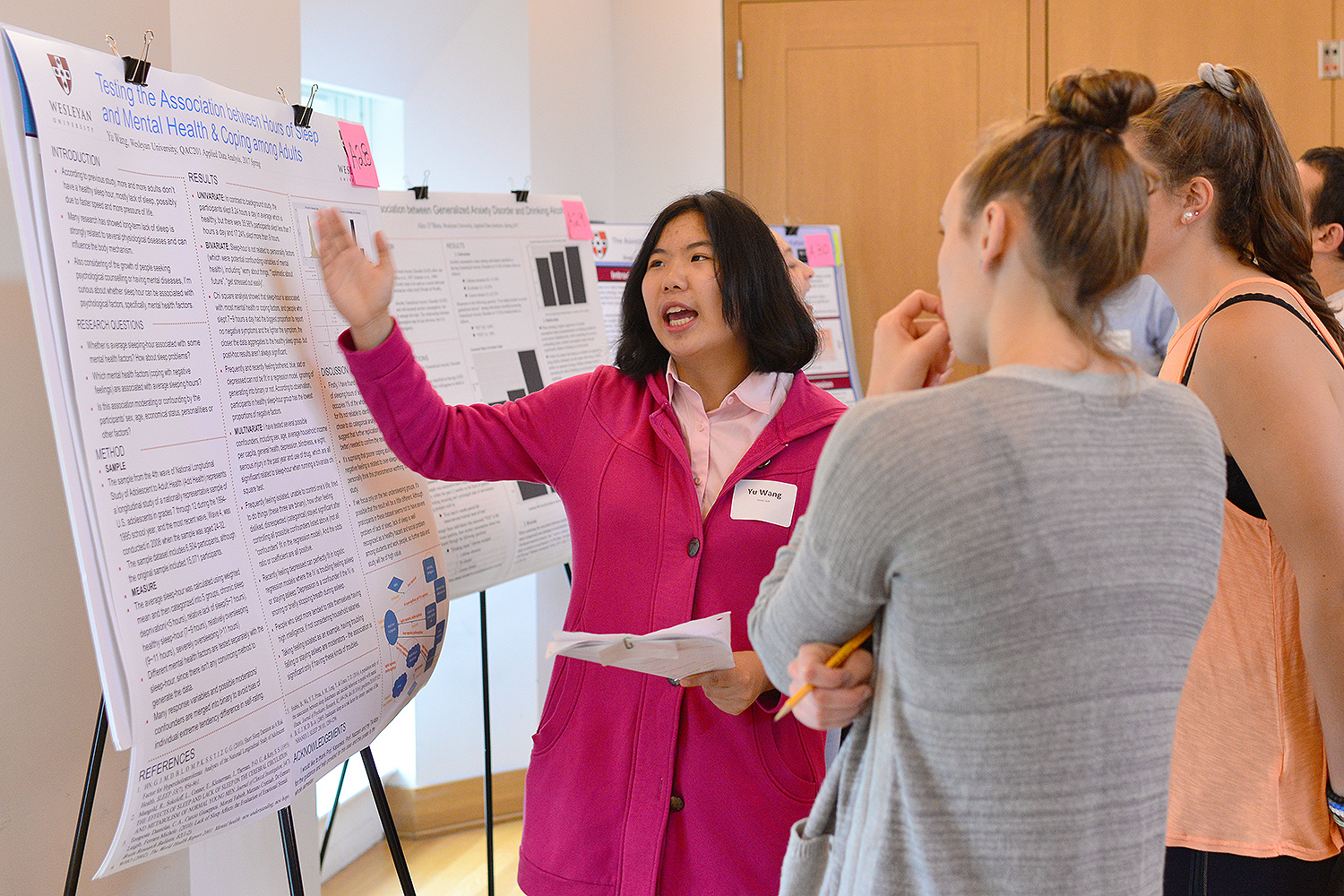 "Yu Wang '19 spoke about her research titled ""Testing the Association between Hours of Sleep and Mental Health and Coping among Adults."""