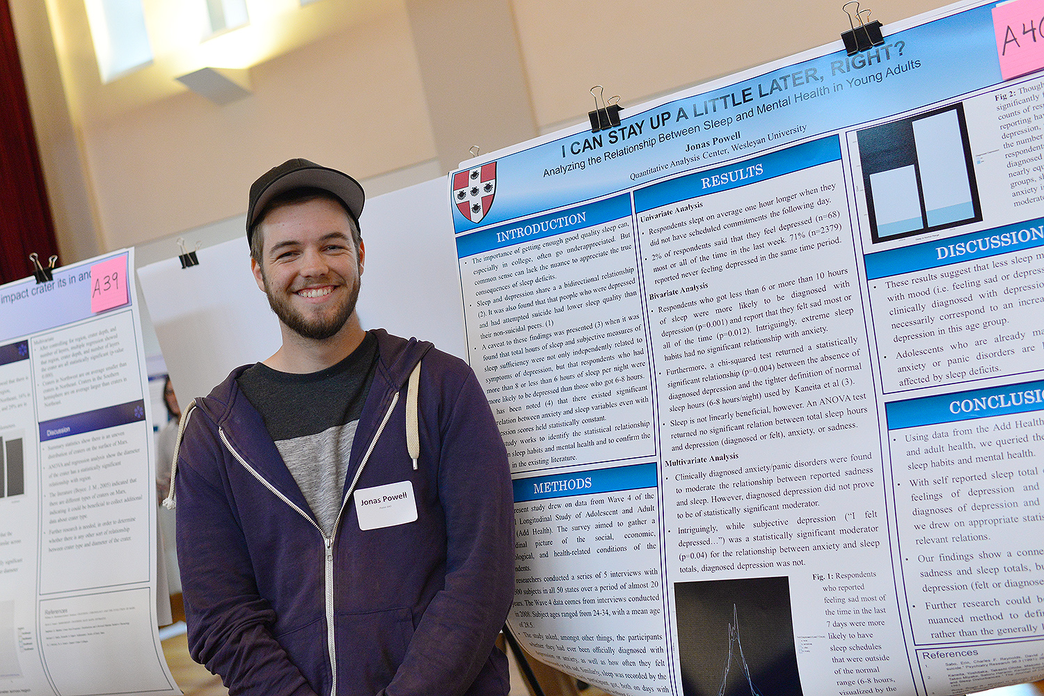 "Jonas Powell '18 presented his study titled ""I Can Stay Up a Little Later, Right? Analyzing the Relationship Between Sleep and Mental Health in Young Adults"" during the QAC poster session."