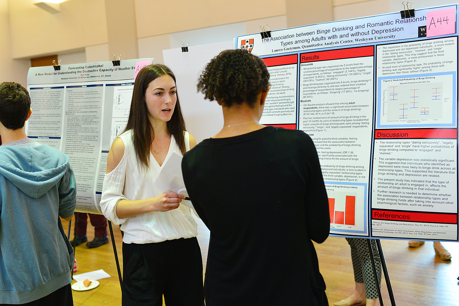 "Laura Goetzman '19 presented her research titled ""The Association between Binge Drinking and Romantic Relationship Types among Adults with and without Depression."""