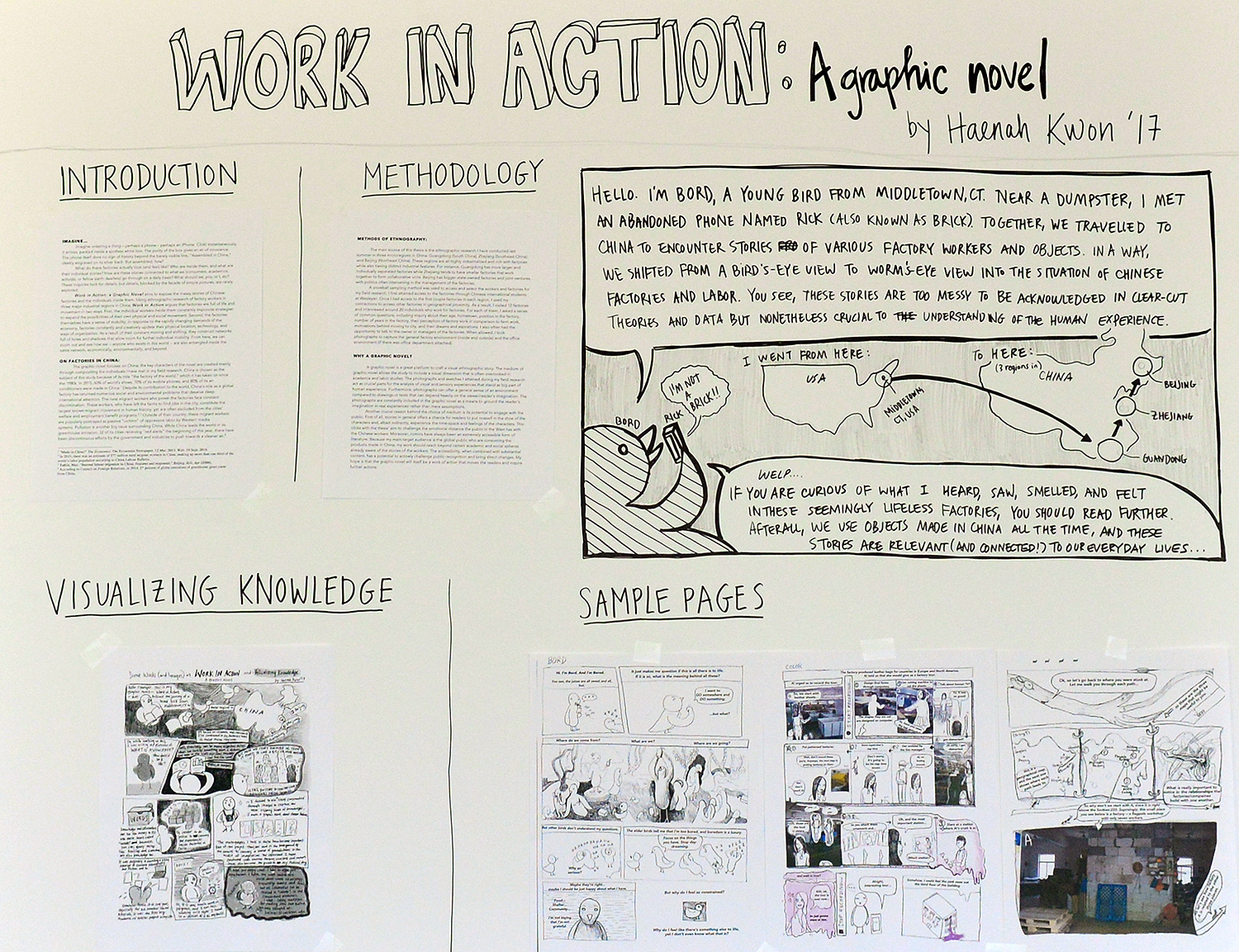 "Examples of data visualization include infographics; photographs; microscopy, or spectroscopy; illustrations; GIS mapping; 2-D image maps; digital renderings; digital 3-D visualizations, 3-D printing or sculpture; and interactive displays or programs. Pictured is a presentation on the situation of Chinese labor titled ""Work In Action: A Graphic Novel"" by Haenah Kwon '17."