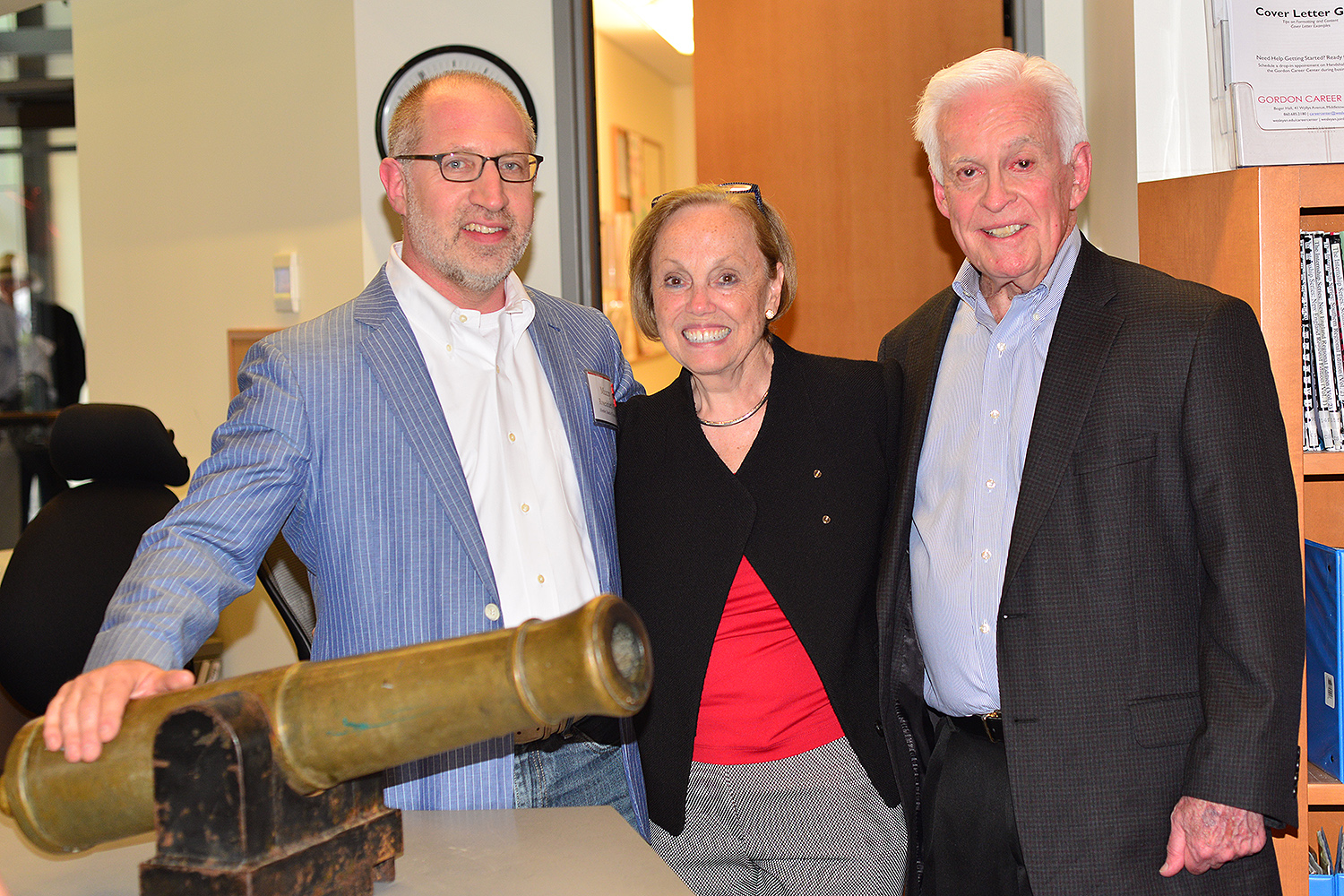 Muzzy Rosenblatt '87, Gina Driscoll and John Driscoll caught a glimpse of the historic Douglas Cannon, which made an appearance during Reunion & Commencement Weekend.
