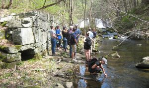 Keck students investigate remnants of Buena Vista/Hunts Lyman Iron Company Furnace site on the Hollenbeck River in Canaan, Connecticut.