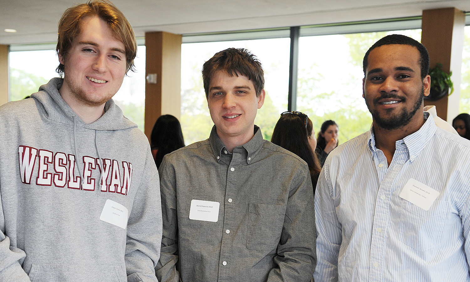 Aidan Stone '17 received the Bradley Prize for excellence in chemistry; Daniel Esposito '17 received the Scott Biomedical Prize; and Dominic Brown '18 received the White Fellowship for excellence in history.