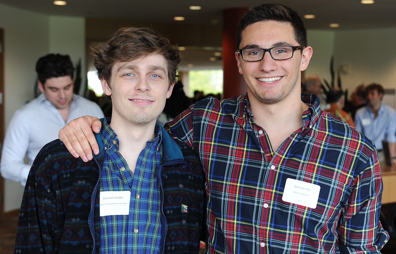 Zachary Hillman '17 received the American Institute of Chemists Award and Max Distler '18 received the Martius Yellow Award for excellence in organic synthesis research.