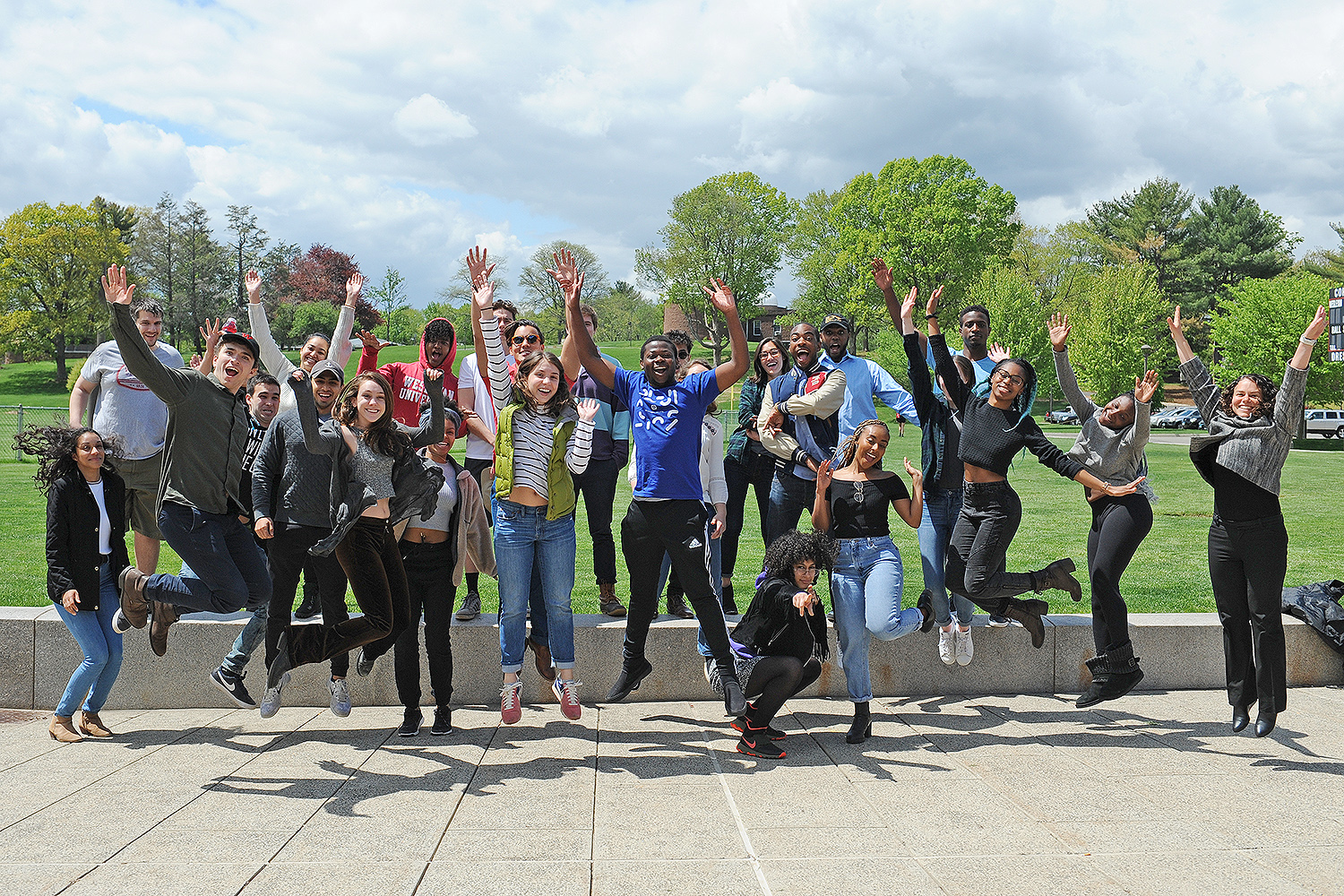 The 2016-17 Patricelli Center Fellows jumped for joy during their end-of-the-year celebration on May 9.