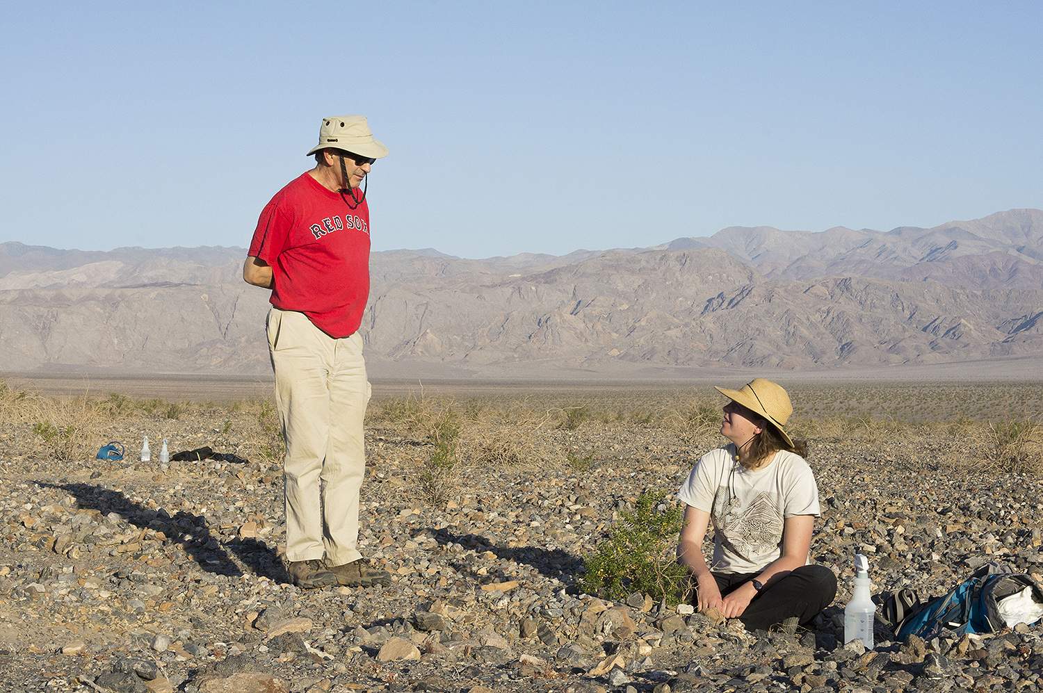 The team attempted to sample creosote roots from below sea level to about 5,000 feet, however the soil at low elevations was too dry.