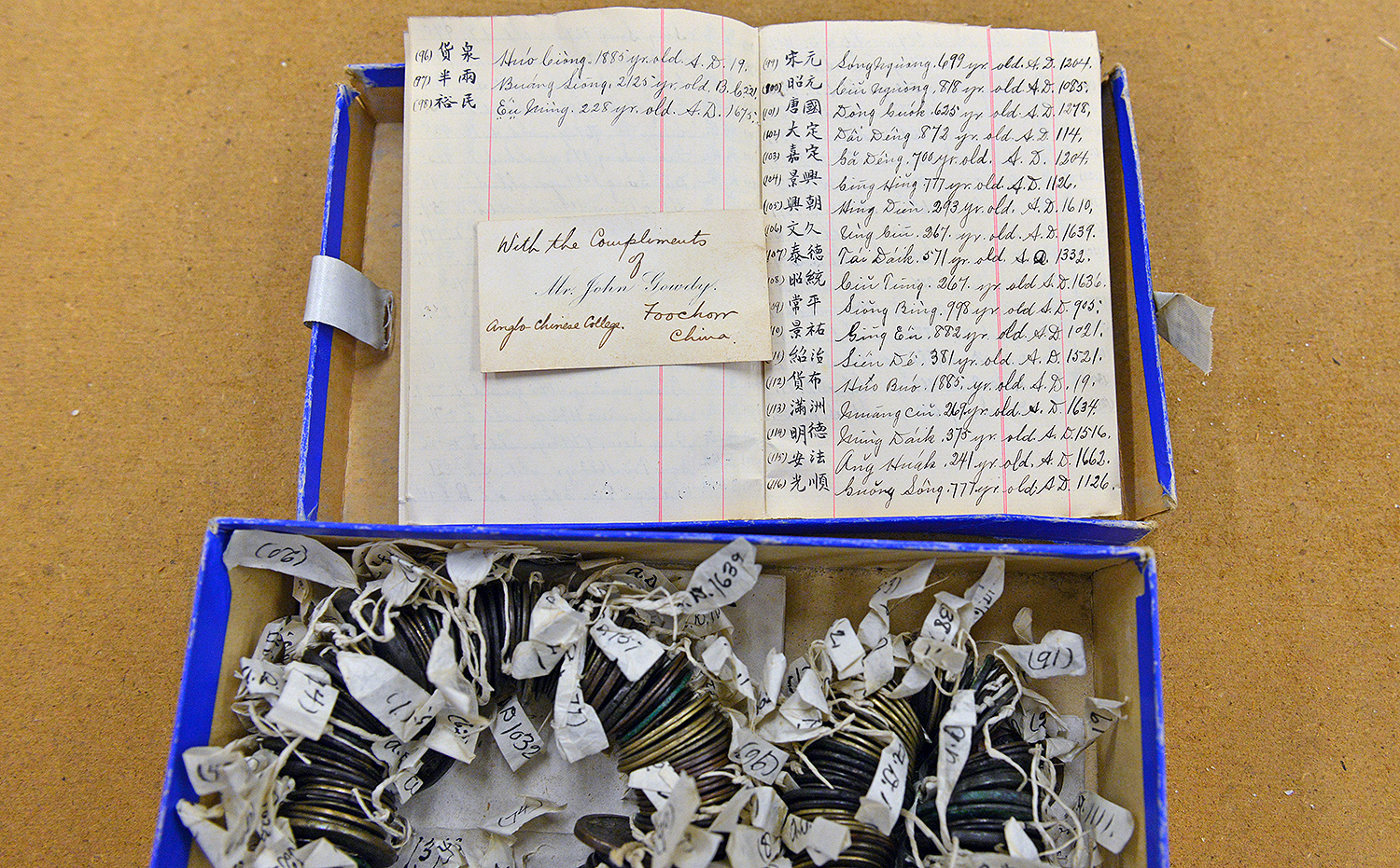 While rummaging through drawers in Exley's Specimen Storage room, Ellen Thomas discovered large collections of old coins including miniature intaglios and ancient Chinese coins collected by the Methodist missionaries who started Wesleyan. The coins are documented in an accompanying booklet.