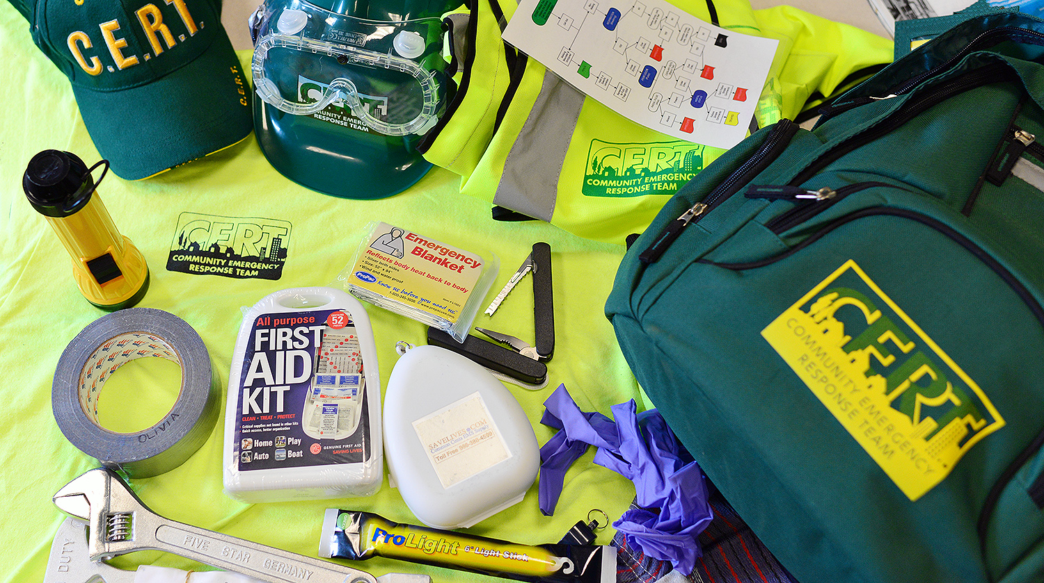 C-CERT members are equipped with a supply backpack, which includes a helmet, reflective vest, safety goggles, first-aid kit, emergency blanket, CPR kit, light sticks, gloves, tape, tools, knives and more.