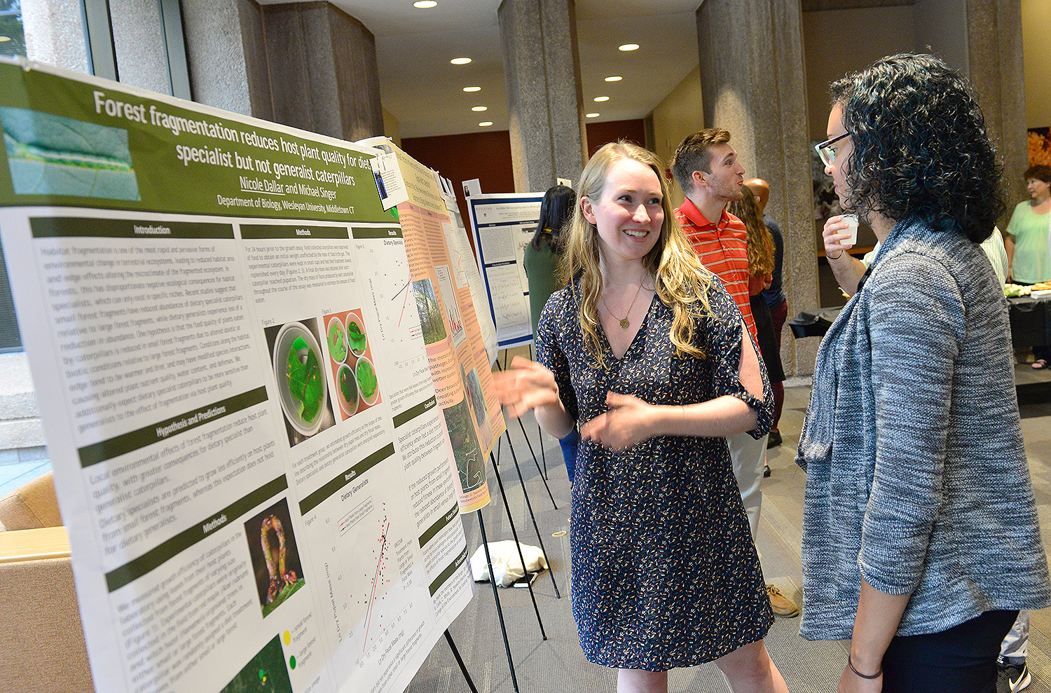 "Nicole Dallar '18 presented her study titled ""Forest fragmentation reduces host plant quality for dietary specialist but not generalist."" Dallas's advisor is Michael Singer, professor of biology, professor of environmental studies. Nicole Dallar '18 presented her study titled ""Forest fragmentation reduces host plant quality for dietary specialist but not generalist."" Dallas's advisor is Michael Singer, professor of biology, professor of environmental studies."