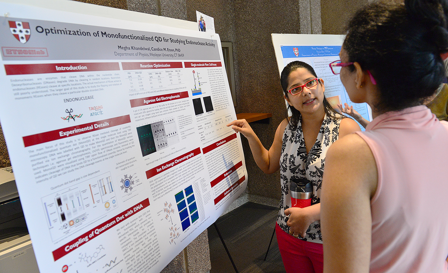 "Megha Khandelwal presented her physics research titled ""Optimization of Monofunctionalized QD for Studying Endonuclease Activity."" Her advisor is Candice Etson, assistant professor of physics."