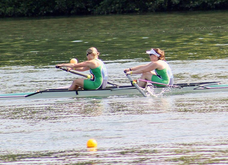When she's not teaching or working in the lab, Michelle Personick, at right, rows crew with the Riverfront Recapture masters racing team in Hartford.