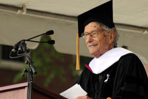 Richard Winslow '40 received a Doctor of Letters at the 2010 Commencement. President Roth announced the establishment of the Richard K. Winslow chair in music, made possible by a generous gift from the Mayer & Morris Kaplan Family Foundation. (Photo by Bill Burkhart)