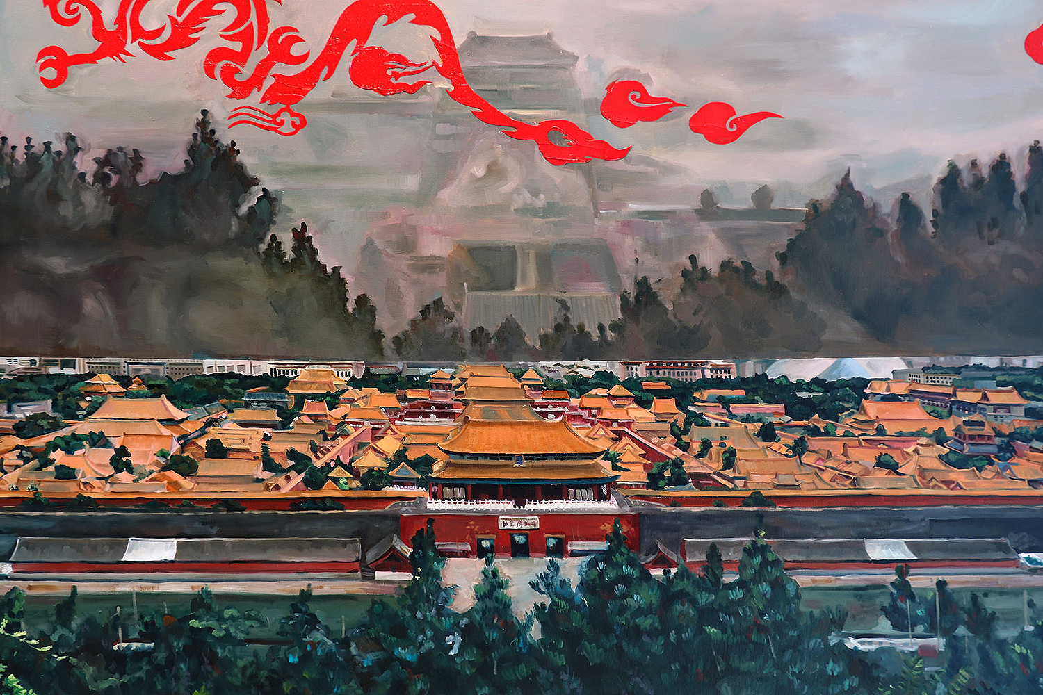 Forbidden City, 60 by 40 inches, oil on canvas.