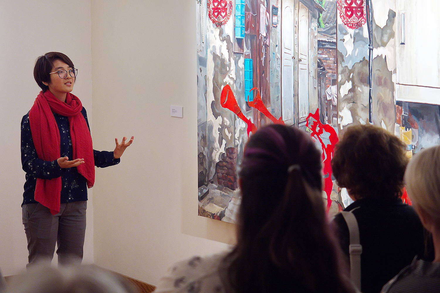 "On Sept. 20, Ma presented an artists talk inside the gallery. (BEIJING | 北京) consists of a series of five paintings based on her experiences in Beijing. ""I feel as though I made my memories real by building my own city through the process of painting,"" she said."