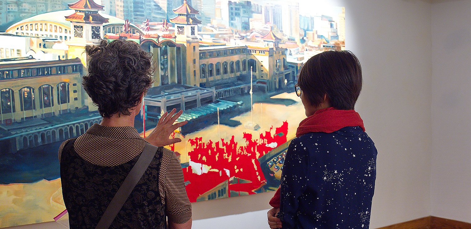 """My painting process is similar to the never-ending development of a city,"" Ma explained. ""Buildings and passages are created and erased, changed and layered, compositions and neighborhoods shift and mature. Similarly, my feelings and memories of my hometown, Beijing, have evolved as I distance myself geographically and chronologically."""