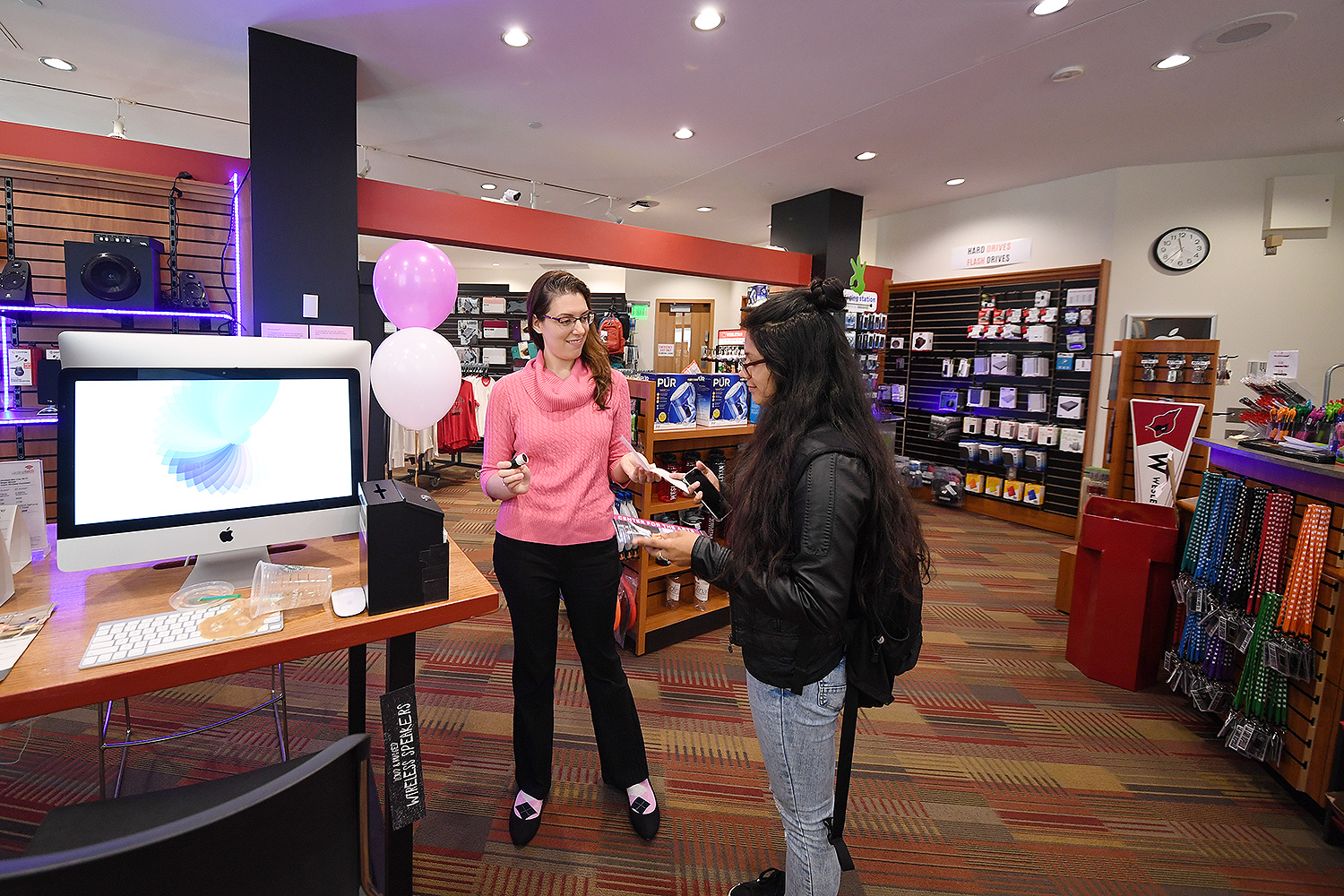Students browed Wesleyan's campus store, Cardinal Tech, during the open house.