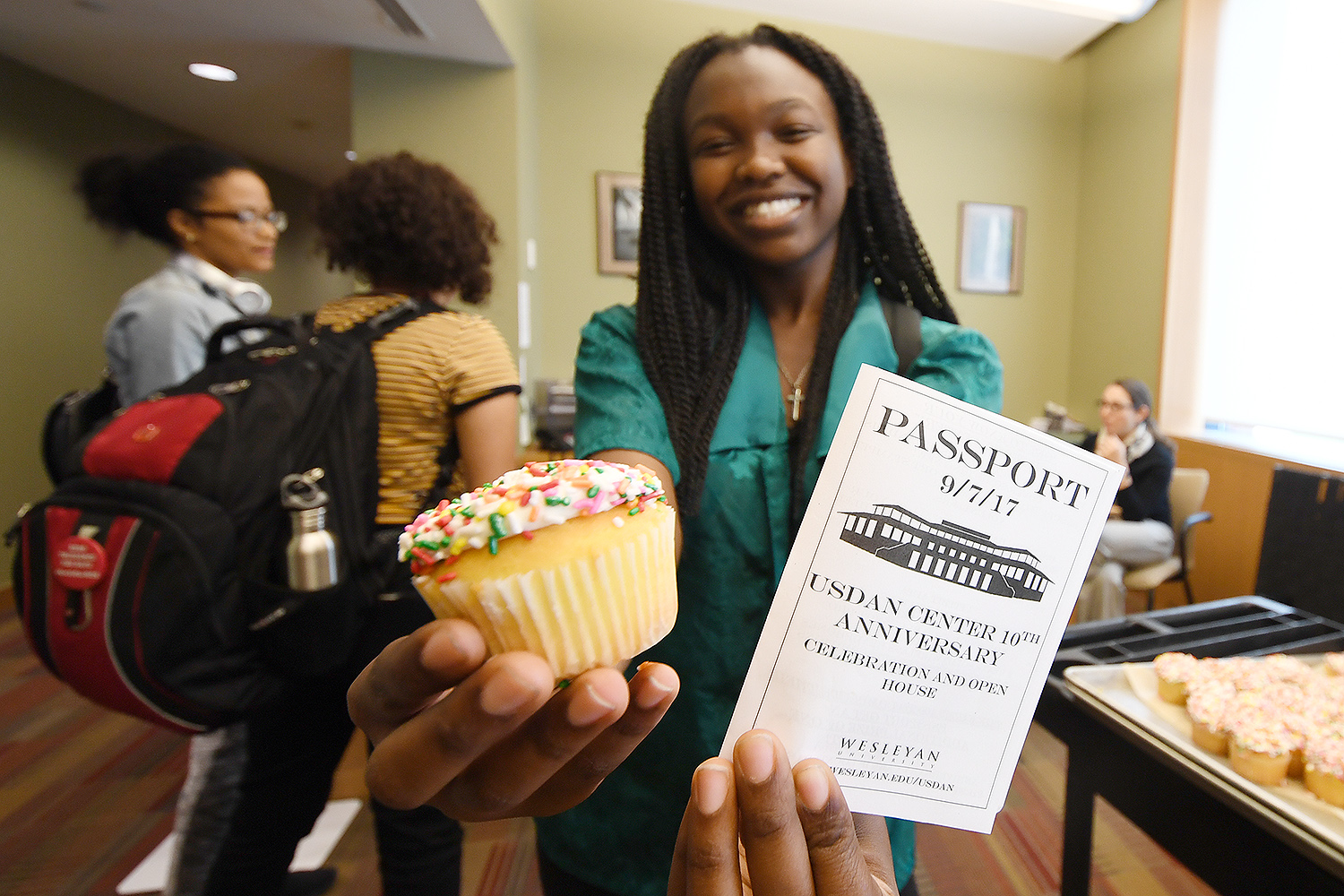 Students who visited the Usdan Administrative Offices were treated to a cupcake while getting their passport stamped.