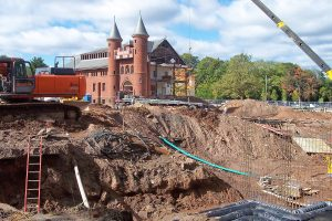 Construction forthe new university center began in 2005. Crews demolished part of the Fayerweather building and the outdated Alumni Athletic Building, also known as the 'Cage,'to make room for the new facility.