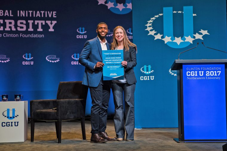 AJ Wilson '18 was honored by Chelsea Clinton, vice chair of the Clinton Foundation, during the Clinton Global Initiative University Conference on Oct. 14. (Photo by Diana Levine/Clinton Foundation)