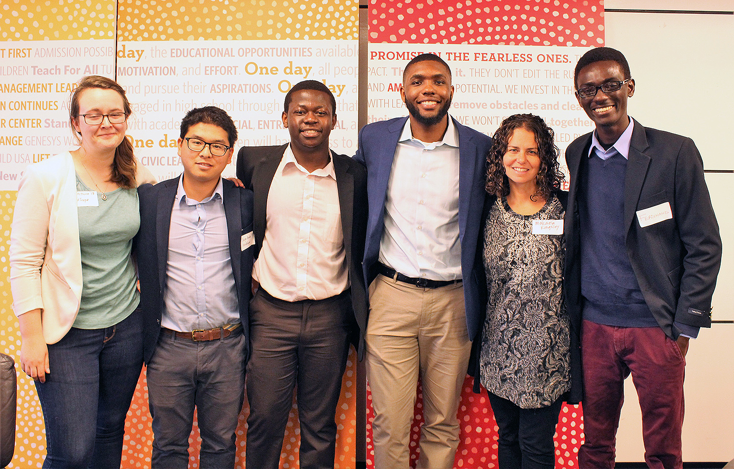 Siri McGuire '17, Taiga Araki '17, Alvin Chitena '19, AJ Wilson '18, Makaela Kingsley '98 (director of the Patricelli Center for Social Entrepreneurship) and Ferdinand Quayson '20 attended the Clinton Global Initiative University (CGI U) Conference in Boston.