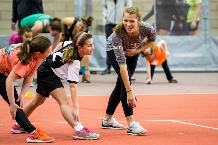 Wesleyan student-athletes often lead sporting events for local youth.