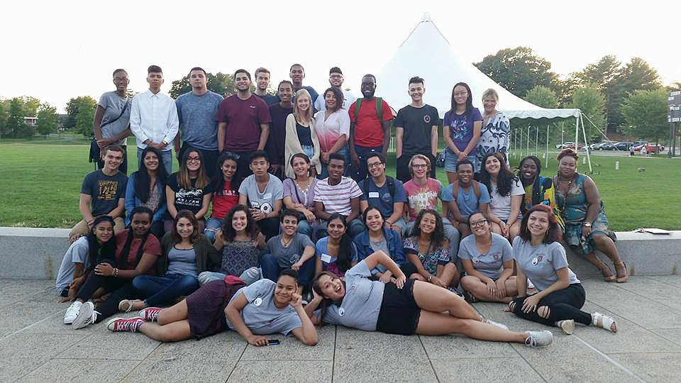 The first cohort of students to complete the First Things First pre-orientation program in fall 2016.