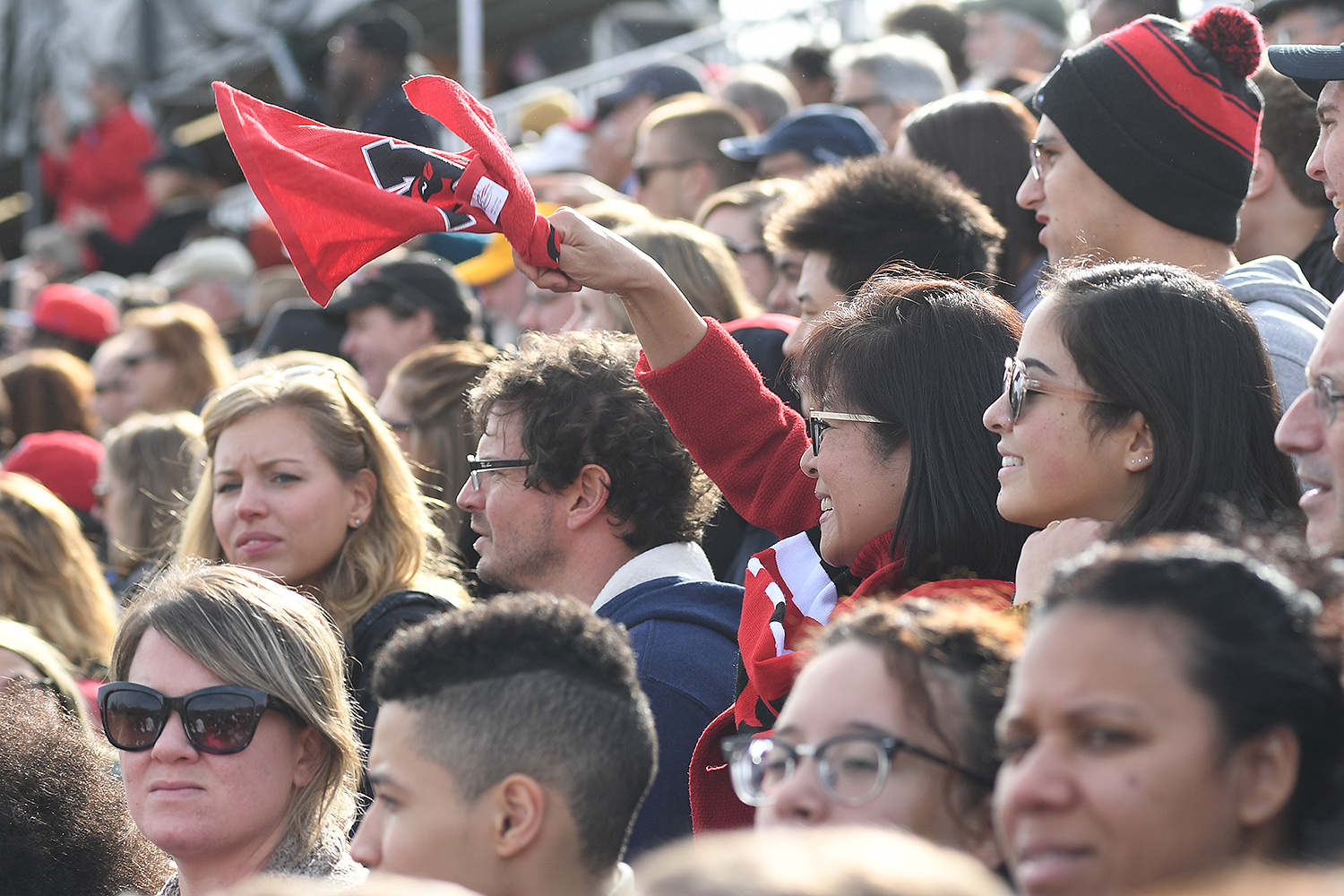 Fans cheer on the Cardinals during the Homecoming football game Nov. 4. Wesleyan won 35-0.